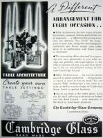 Description: Cambridge Glass Company advertisement for Table Architecture