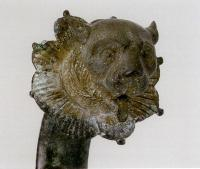 Description: Lamp handle with panther's head, detail