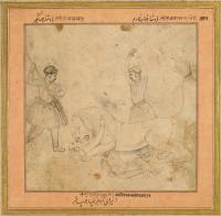 The Huntsman Anup Rai Freed from a Lion by Emperor Jahangir and Prince Khurram