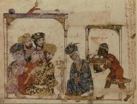 "A guest at supper with a group of savants. Al-Harīrī, ""Makāmāt (The Assemblies),"" fol. 16r"