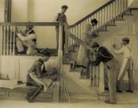 Description: Hampton students, training in woodworking, building a stairway in a house in...