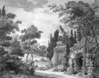 Description: The Gardens of Cythera: stage set for a ballet