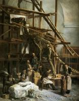 Description: Mounting of the Natural History Museum's first iguanodon in the Nassau chapel