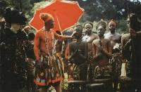 Description: Kekum njang in Kom/Oku, Cameroon, King Jinabo II in front of the royal figures