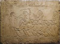 Description: Nubian wrestlers; fragment of low relief, Memphis, tomb of the vizier and future...