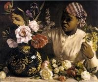Description: Black Woman with Peonies