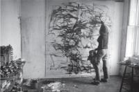 Description: Joan Mitchell in her St. Mark's Place studio, New York