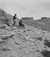 Description: Castellated rocks on the Chugwater, S.R. Gifford, Artist, on Right, detail