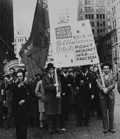Description: Protest held by the John Reed Club and Artists' Union, detail