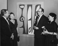 Description: Bertha Schaefer and Will Barnet (left) at the 14 Painter-Printmakers exhibition at...