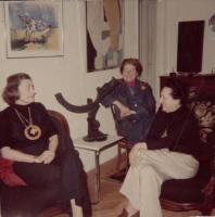 Description: Gathering at apartment of Dorothy Dehner (left), with Worden Day (center) and Lily...
