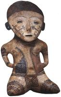 Description: Seated polychrome female figure with tattoos